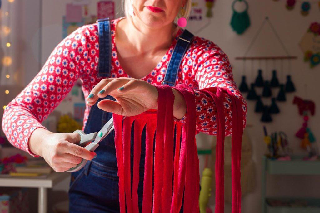 cutting up t-shirt yarn