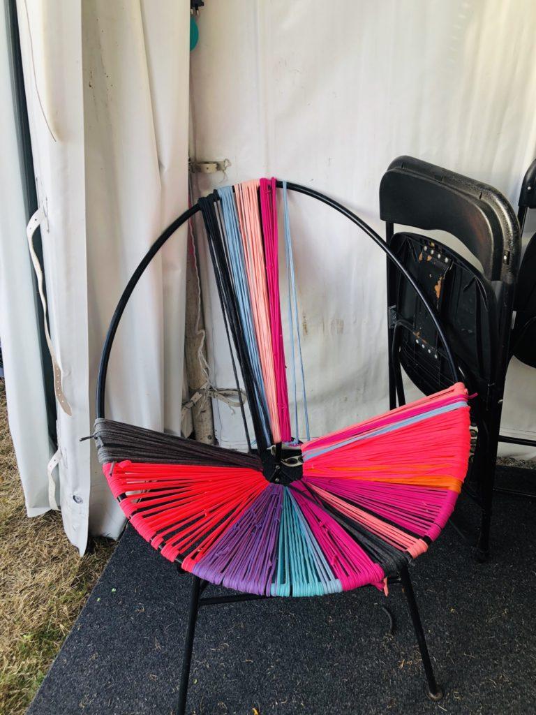 Upcycled t-shirt yarn chair